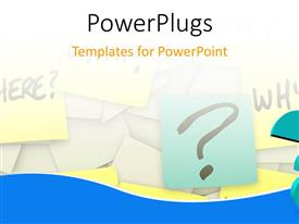 PowerPlugs: PowerPoint template with 3D human character in thought standing near a question, sticky notes with questions like who, what, when, where, how