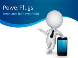 PowerPlugs: PowerPoint template with 3D human character in white with a modern mobile phone