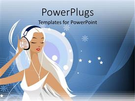 PowerPlugs: PowerPoint template with a 3D human character in white wearing a large headset
