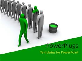 PowerPlugs: PowerPoint template with 3D human characters being painted in green with white color