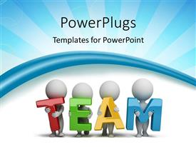 PowerPlugs: PowerPoint template with 3D Human Characters Holding Hands in the word Team with rays in the background