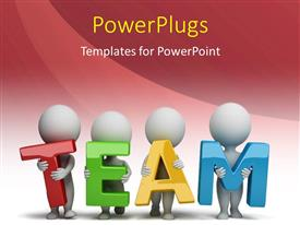 PowerPoint template displaying 3D human characters holding hands in the word team