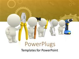 PowerPlugs: PowerPoint template with 3D human characters holding mechanical tools and engineering theme in background