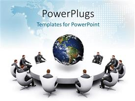 PowerPlugs: PowerPoint template with 3D human characters sitting round a table with an earth globe