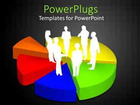 PowerPoint template displaying 3D human characters standing on a multi colored pie chart