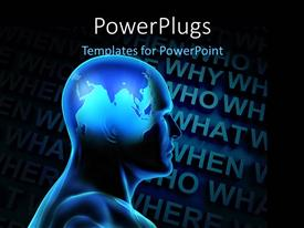 PowerPlugs: PowerPoint template with a 3D human figure with lots ff text at the background
