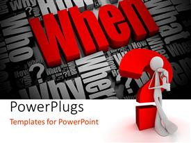 PowerPlugs: PowerPoint template with 3D human figure standing near to big question mark in red with different questions