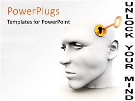 PowerPlugs: PowerPoint template with a 3D human head with a key hole and a golden key