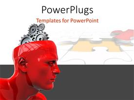 PowerPoint template displaying a 3D human head with silver colored gears for a brain