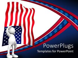 PowerPlugs: PowerPoint template with 3D human stands and salute the American flag