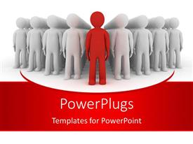 PowerPlugs: PowerPoint template with 3d humanoid in red ahead of a group of whites depicting leadership concept