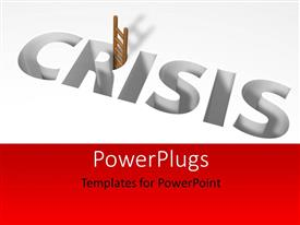 PowerPlugs: PowerPoint template with 3d image depicting crisis using ladder