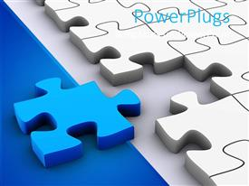PowerPlugs: PowerPoint template with 3D jigsaw puzzle pieces, white puzzle pieces and one blue puzzle piece