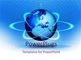 PowerPlugs: PowerPoint template with 3D large blue colored globe with orbits round it