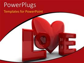 PowerPlugs: PowerPoint template with 3D love symbol over plain white background