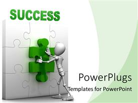 PowerPlugs: PowerPoint template with 3D ma fitting green piece of SUCCESS jigsaw puzzle in right position