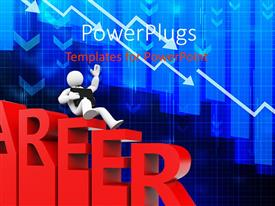 PowerPlugs: PowerPoint template with 3D man with briefcase slide down career path depicting failure