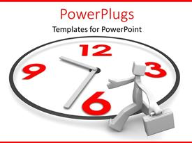 PowerPlugs: PowerPoint template with 3D man with briefcase walking around wall clock