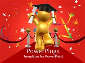 PowerPoint template displaying 3D man celebrating Graduation Day, Cool starry red background
