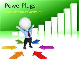 PowerPlugs: PowerPoint template with 3D man centered between colorful arrows converging