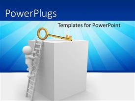 PowerPlugs: PowerPoint template with 3D man climbing ladder to golden key on platform