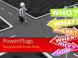 PowerPlugs: PowerPoint template with 3D man at crossroad confused at which path to thread