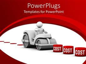 PowerPoint template displaying 3D man crushing different blocks of costs, reduce cost, red and white background