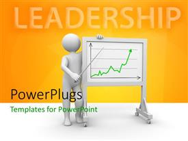 PowerPlugs: PowerPoint template with 3D man delivering presentation with green line chart on white board