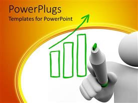 PowerPoint template displaying 3D man drawing growth chart on white board with green marker