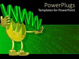 PowerPoint template displaying 3D man with gold coin head carrying green 3D WWW sign