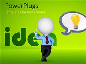 PowerPlugs: PowerPoint template with 3D man on green background thinking about bright ideas