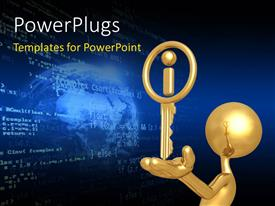 PowerPlugs: PowerPoint template with 3D man holding gold key in hand with information icon