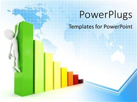 PowerPlugs: PowerPoint template with 3D man holding on to highest bar of bar chart over world map