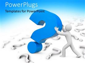 PowerPlugs: PowerPoint template with 3D man holding up large blue question mark symbol