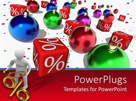 PowerPlugs: PowerPoint template with 3D man holds magnifying glass over percentage symbol with Christmas ornaments