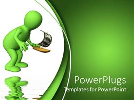 PowerPlugs: PowerPoint template with 3D man holds toy sailing ship with reflection in water