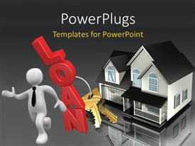 PowerPlugs: PowerPoint template with 3D man with house and set of keys constructed from loan