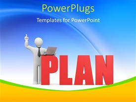 PowerPlugs: PowerPoint template with 3D man with laptop over blue background with text PLAN