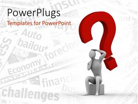 PowerPlugs: PowerPoint template with 3D man with large question mark symbol hanging over head