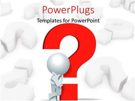 PowerPlugs: PowerPoint template with 3D man leaning on red question mark symbol