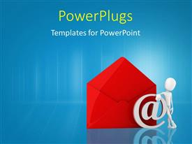 PowerPlugs: PowerPoint template with 3D man leans against email symbol and large red envelope