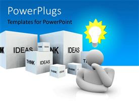 PowerPlugs: PowerPoint template with 3D man with light bulb and cubes with text IDEAS