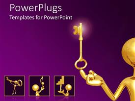 PowerPlugs: PowerPoint template with 3D man plated in gold balancing key in head on purple background
