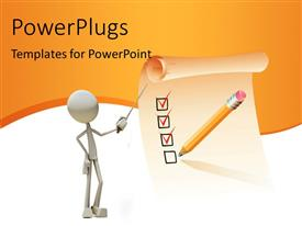 PowerPlugs: PowerPoint template with 3D man pointing to checklist on clipboard with pencil