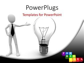 PowerPlugs: PowerPoint template with 3D man pointing to light bulb with colored tiles and letters