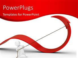 PowerPlugs: PowerPoint template with 3D man pulling red arrow backwards with rope on white surface