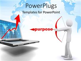 PowerPlugs: PowerPoint template with 3D man pulls bow and arrow with laptop as target