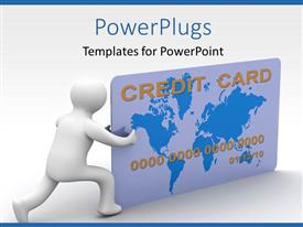 PowerPoint template displaying 3D man pushing credit card over white background
