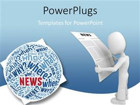 PowerPlugs: PowerPoint template with 3D man reading from newspaper and sphere filled with questions