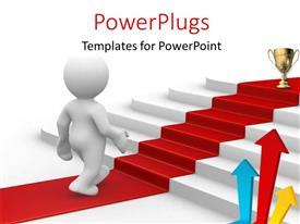 PowerPlugs: PowerPoint template with 3D man on red carpet climbing stairs toward gold trophy